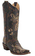 Circle G by Corral Women's Distressed Brown with Bone Dragonfly Embroidered Snip Toe Western Boots
