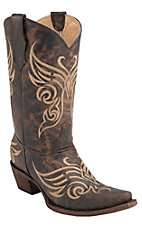 Corral Circle G Women's Distressed Brown Fancy Stitch Snip Toe Western Boots