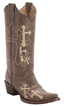 Circle G by Corral Women's Distressed Brown with Beige Cross Embroidery Snip Toe Western Boots