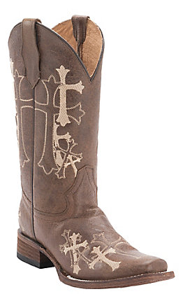 Circle G by Corral Women's Distressed Brown with Beige Cross Embroidery Square Toe Western Boots