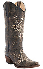 Circle G by Corral Women's Chocolate Crackle w/Bone Fancy Embroidery Snip Toe Western Boots