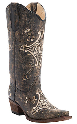 Circle G by Corral Women's Chocolate Crackle with Bone Fancy Embroidery Snip Toe Western Boots