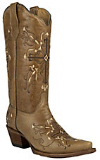 Corral Circle G Women's Antique Saddle Brown with Cross Embroidery Snip Toe Western Boots