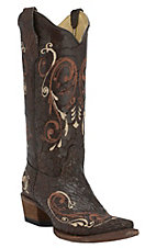 Corral Circle G Women's Brown Crust with Brown & Cream Scroll Embroidery Snip Toe Western Boots