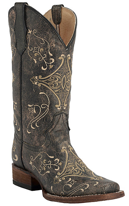 78fdd44bc26 Circle G by Corral Women's Vintage Black with Cream Embroidery Square Toe  Western Boots