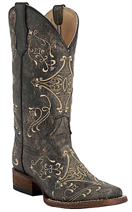 Circle G by Corral Women's Vintage Black with Cream Embroidery Square Toe Western Boots