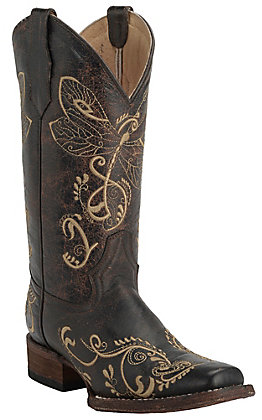 Circle G by Corral Women's Chocolate with Embroidered Dragonfly Square Toe Western Boots