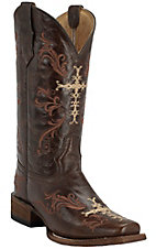 Corral Circle G Women's Chocolate w/ Beige & Cognac Cross Embroidery Square Toe Western Boots