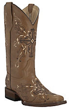 Corral Circle G Women's Antique Saddle Brown with Cross Embroidery Square Toe Western Boots