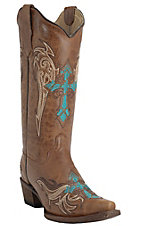 Circle G by Corral Women's Honey Frontier with Turquoise & Brown Winged Cross Embroidery Snip Toe Western Boots