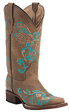Circle G by Corral Women's Tan with Turquoise Dragonfly Embroidery Square Toe Western Boots