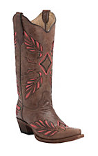 Corral Circle G Women's Brown with Coral & Black Feather Embroidery Snip Toe Western Boots
