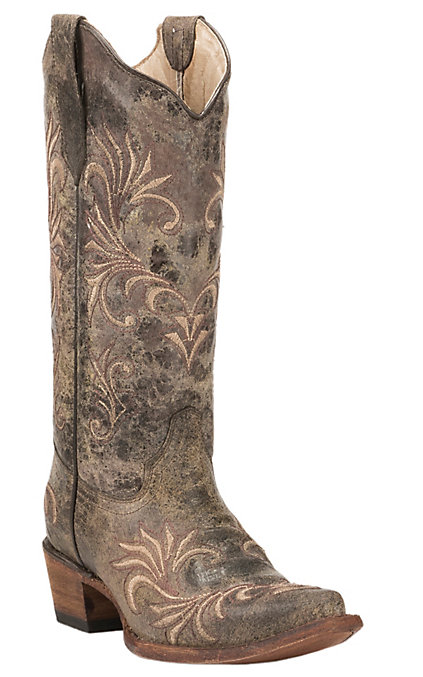 cbce14095b1 Circle G by Corral Women's Distressed Chocolate with Tan & Brown Embroidery  Snip Toe Western Boots