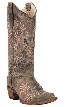 Circle G by Corral Women's Distressed Chocolate with Tan & Brown Embroidery Snip Toe Western Boots