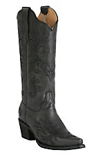 Corral Circle G Women's Black with Filigree Embroidery Snip Toe Western Boots