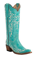 Corral Circle G Women's Turquoise with Cream Embroidery Snip Toe Western Boots