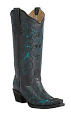 Corral Circle G Women's Black with Turquoise Fleur De Lis Embroidery Snip Toe Western Boots