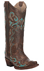 Corral Women's Brown with Turquoise Embroidery Snip Toe Western Boot