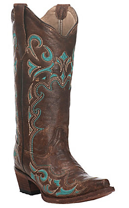 Circle G by Corral Women's Brown with Turquoise Embroidery Snip Toe Western Boot