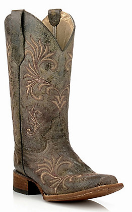 Circle G Women's Distressed Green & Beige Filigree Embroidery Western Square Toe Boots