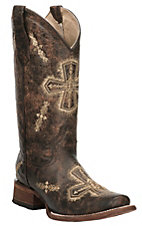 Corral Women's Crackle Brown with Beige Cross Embroidery Square Toe Western Boots