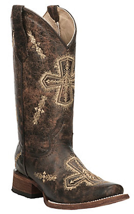 Circle G by Corral Women's Crackle Brown with Beige Cross Embroidery Square Toe Western Boots