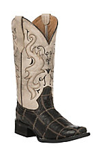 Corral Women's Black with Bone Upper Ostrich Patchwork Western Square Toe Boots