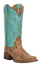 Corral Women's Tan with Turquoise Upper Ostrich Patchwork Western Square Toe Boots