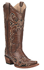 Corral Circle G Women's Brown with Black Embroidery Western Snip Toe Boots