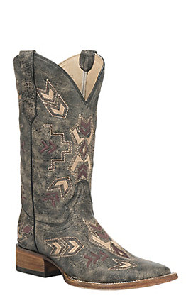 Circle G by Corral Women's Distressed Black with Arrowhead Embroidery Western Square Toe Boots