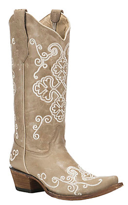 Corral Boot Company Women's Bone Vintage Leather with Tan Embroidered Floral Print Western Snip Toe Boots
