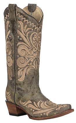 Corral Women's Green Castle Path with Honey Embroidery Snip Toe Boots