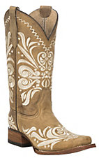 Corral Circle G Women's Tan w/ Embroidery Square Toe Boots