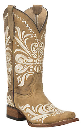 Circle G by Corral Women's Tan with Cream Filigree Embroidery Western Square Toe Boots