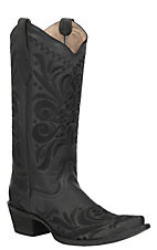 Corral Women's Black Filigree Embroidery Western Snip Toe Boots