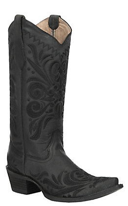 Circle G by Corral Women's Black Filigree Embroidery Western Snip Toe Boots
