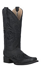 Corral Women's Black Filigree Embroidery Western Square Toe Boots