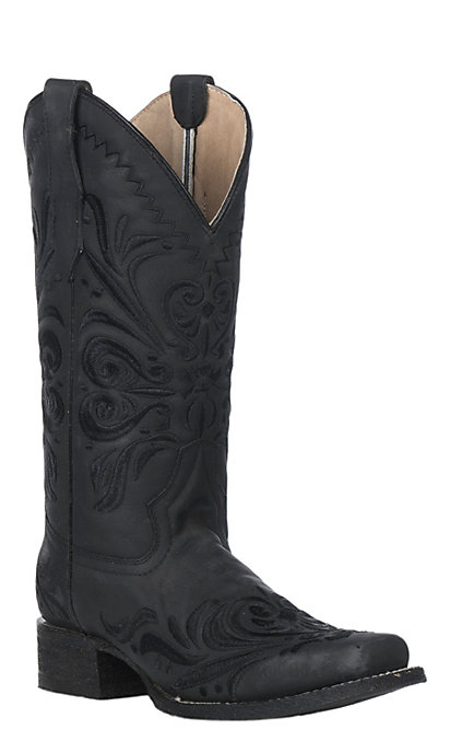 7f020705c27 Circle G Women's Black Filigree Embroidery Western Square Toe Boots