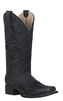 Circle G by Corral Women's Black with Black Filigree Embroidery Square Toe Western Boot