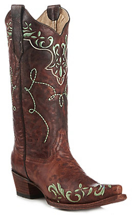 Circle G Women's Brown with Turquoise Embroidery Snip Toe Western Boot
