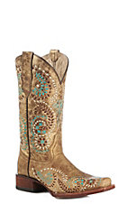 Circle G Women's Gold Embroidered Square Toe Western Boot