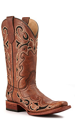 Circle G by Corral Women's Brown with Black Embroidery Square Toe Western Boots