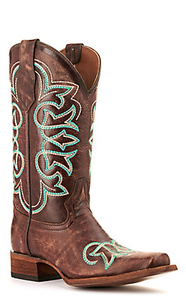 Circle G by Corral Women's Dark Brown with Turquoise and Cream Embroidery Square Toe Western Boots