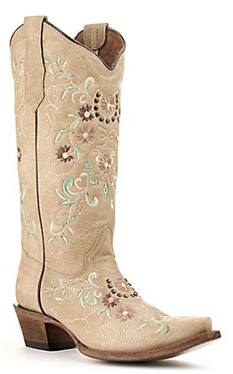 Circle G by Corral Women's Sand Brown with Floral Embroidery Snip Toe Western Boots