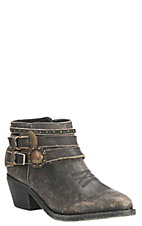Corral Circle G Women's Black Distressed with Multi Strap Embellishment Bootie