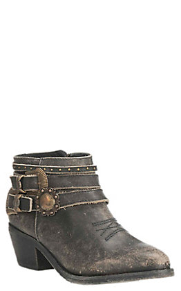 Corral Circle G Women's Black Distressed Leather Multi Strap Round Toe Booties