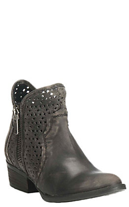 Circle G by Corral Women's Dark Grey Leather Cut Out Round Toe Booties