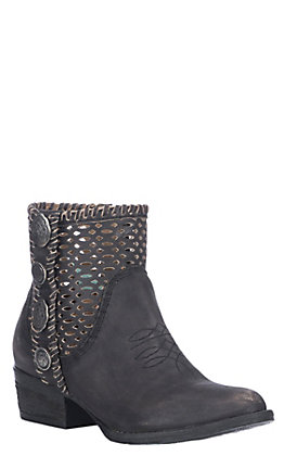 Corral Urban Women's Black Leather Cutout With Conchos Round Toe Booties