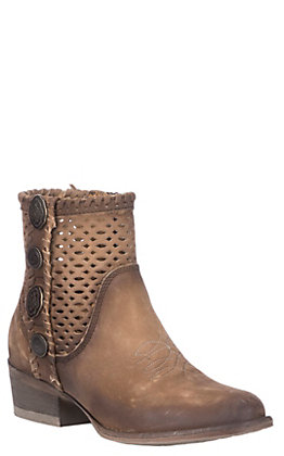 Corral Urban Women's Chocolate Brown Leather Cutout with Conchos Round Toe Booties