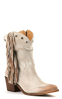 Circle G by Corral Women's Grey and Bronze with Fringe and Studs Zip Up Round Toe Western Booties